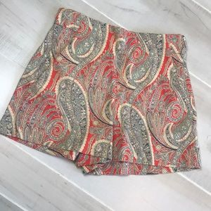 Zara High waisted orange floral paisley shorts